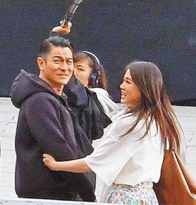 Joe Chen filming with Andy Lau